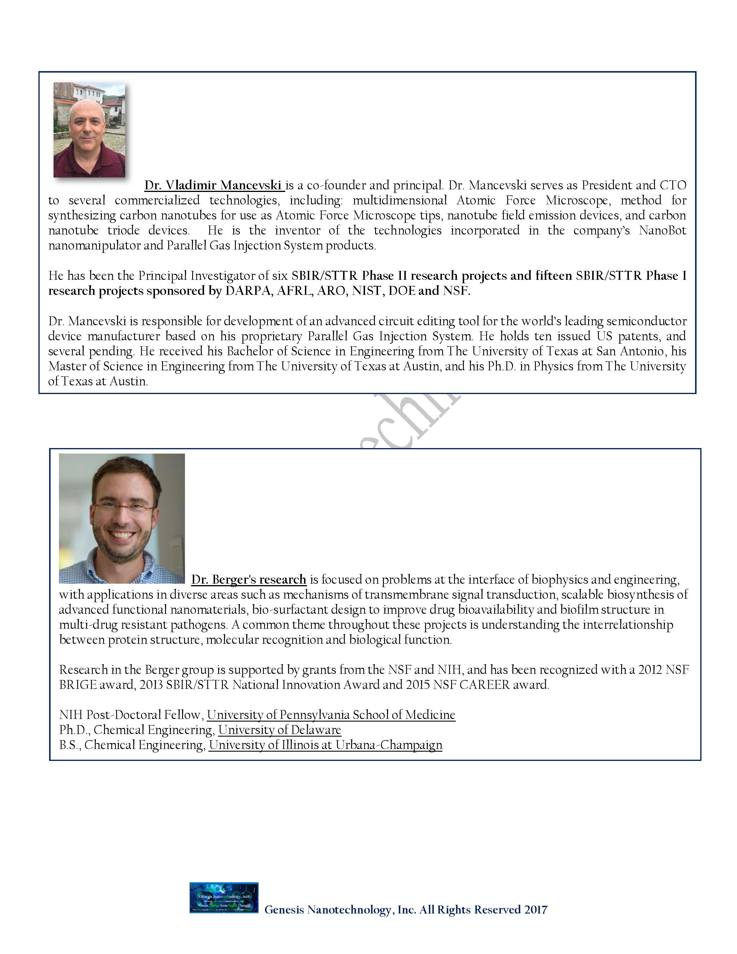 About Genesis Nanotechnology, Inc  «
