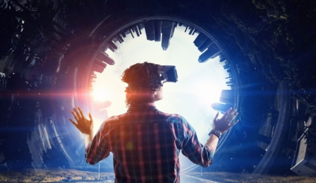 Man-in-VR-Headset-Looking-into-Portal-Future-of-VR